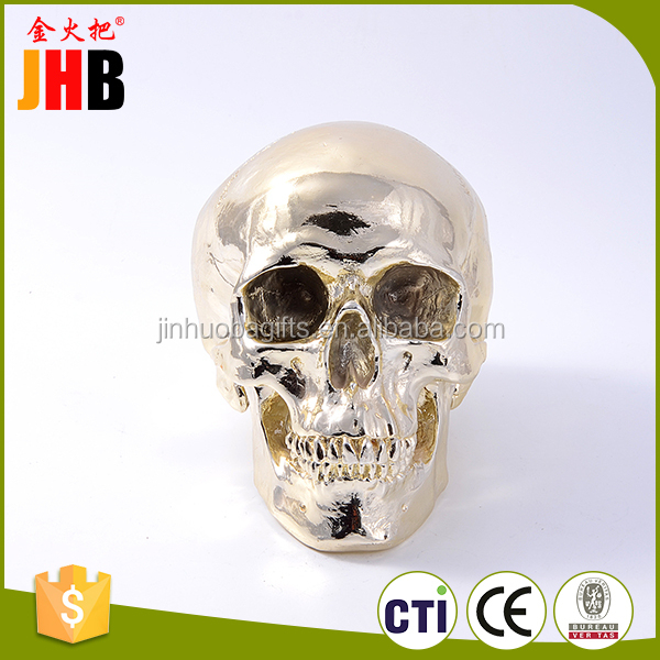 Hot sell coin container skull shape money bank polyresin money box