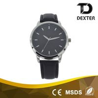 New hot selling wholesale european style men leather watchband quartz stainless steel back watch