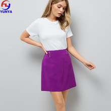 Latest mature lady sexy zip back fastening A-line purple pencil skirt