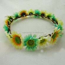 2015 Spring and summer design total 17pcs mix color daisy flower headband crown