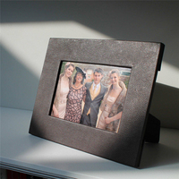 High Quality PU Leather Black Picture Frame with Family/Wedding Photos
