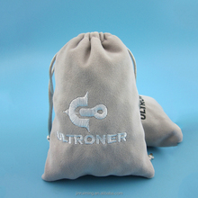 Grey Double Velvet Drawstring Pouch With Embroidery Logo