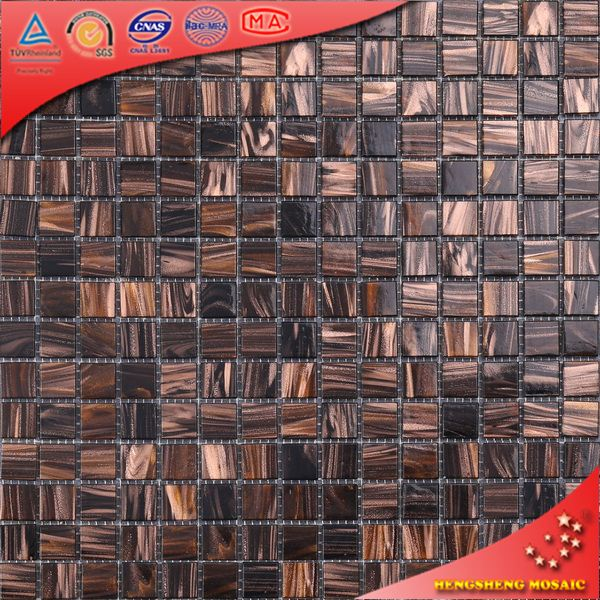 20X20 mm Recycle Golden Line Glass Mosaic Tile for Backsplash Wall Decor
