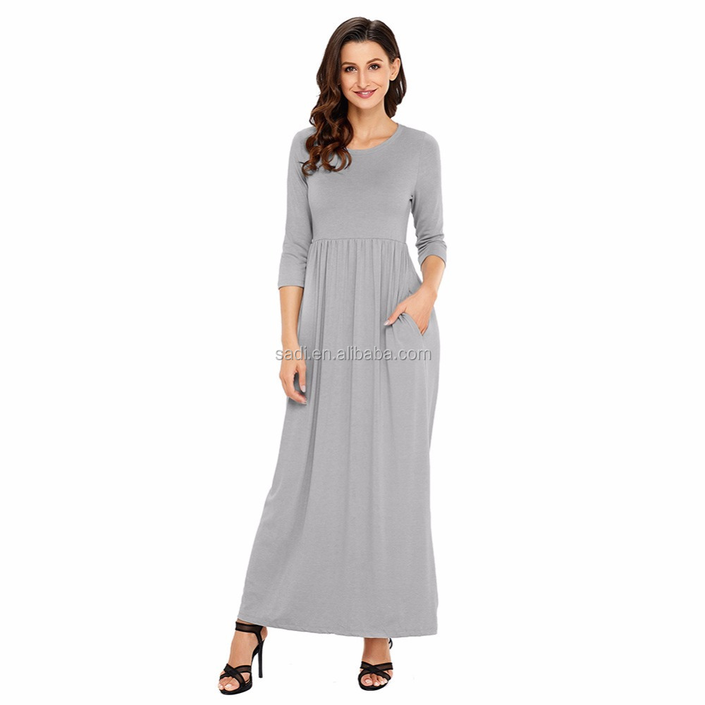 Women Maxi Dress Three Quarter Long Sleeve Round Neck Loose Plain Casual Long Dresses With Pockets