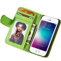 For iPhone 5 5s Leather Case Wallet Stand Flip Cover With Photo Frame Card Slots