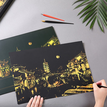 Creative scratch night view city seies classic collection paper decoration paintings scratch drawing