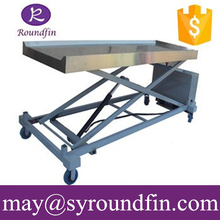 2015 high quality funeral embalming table leg foldable mortuary trolley