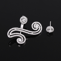 Fashion Silver Asymmetrical Yin Yang Clear Crystal Cubic Zirconia Ear Jacket Earrings Back Ear Cuffs Earring