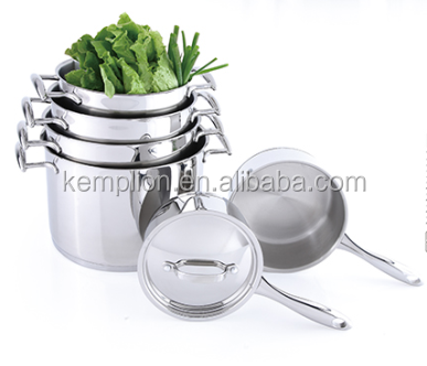 stainless steel mirror polishing cookware set saucepan with wire handle