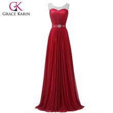 Grace Karin Sleeveless Beaded and Sequins Latest Design Formal Evening Gowns Red CL6272