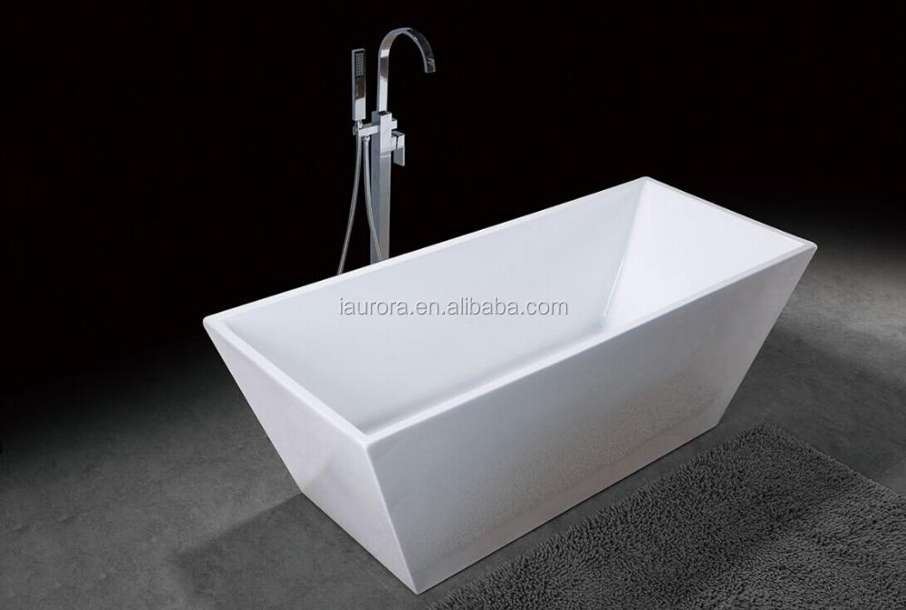 Black rectangular freestanding resin bathtub with acrylic for Best freestanding tub material