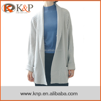 Korean Young Cute Long Loose Light Grey Acrylic Crew Neck Ladies Sweater Cardigan