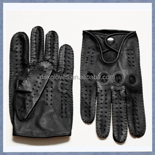 Promotional Custom Men Leather Motorbike Glove Deerskin Leather Motorbike Glove