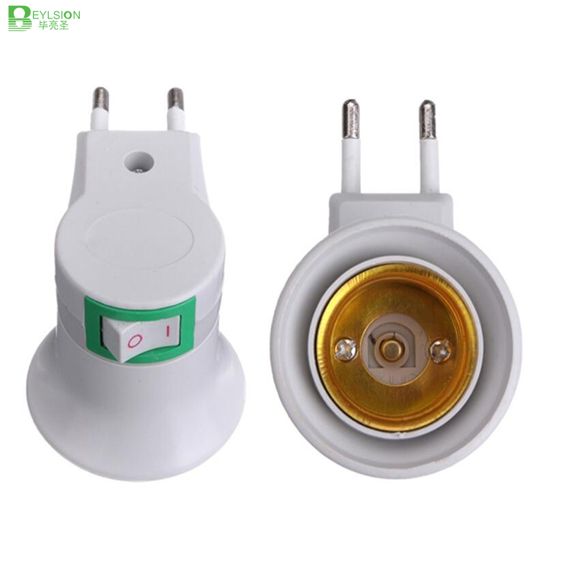 1204 Lamp Base E27 LED Light Male Socket to EU Type Plug Adapter Converter for Bulb Lamp Holder With ON OFF Button 04