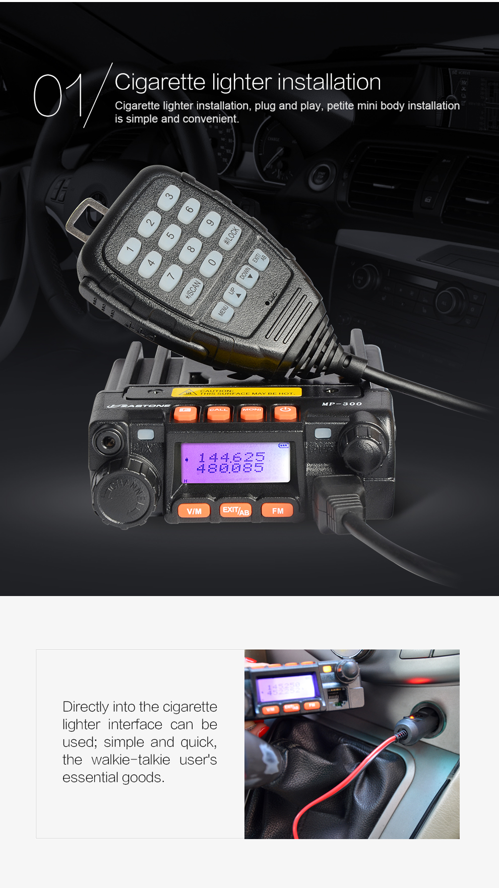 Colorful Dual Band Mini Radio Zastone MP300 136-174/400-480MHz Mini Car Mobile Radio Transceiver
