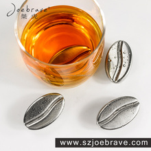 Hot- selling Coffee Bean Stainless Steel Ice Cube , Whiskey Stone, Chilling Your Wine Fast Without Dilution