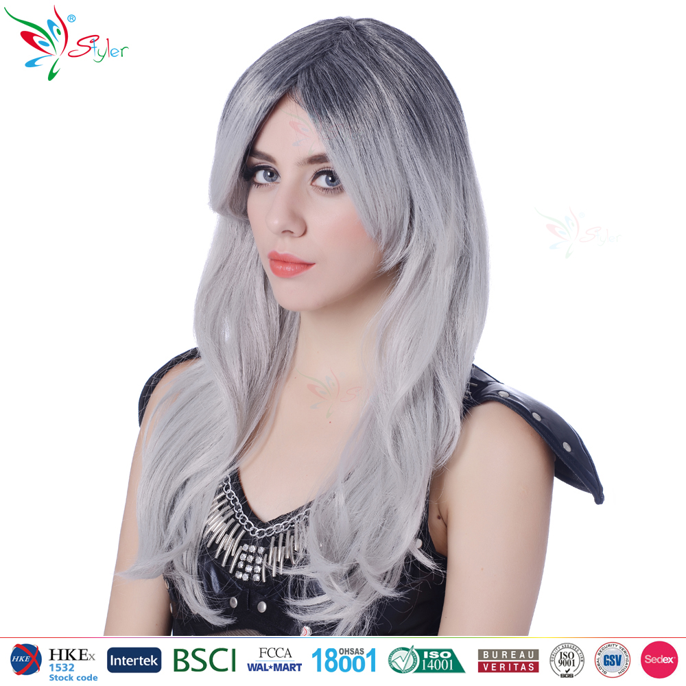 wholesale synthetic fibre long curly with side bang fashion women ombre wigs with grey hair
