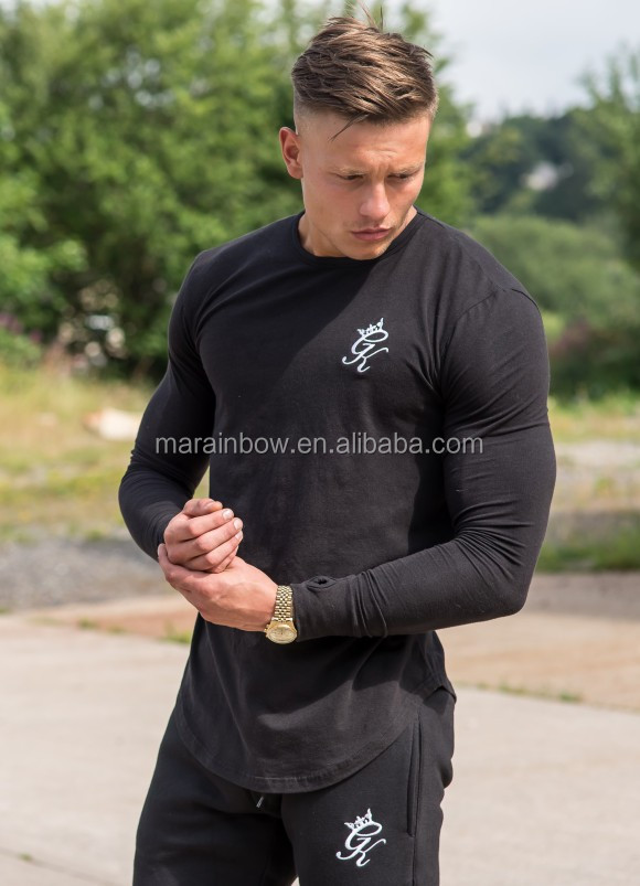 Men's Slim Fit Long Sleeve T-Shirt Soft Black 96% Cotton 4% Elastane Longline Curved Hem T Shirt Muscle Bodybuilding Gym T Shirt