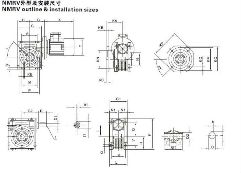 nmrv series worm gearbox reductor