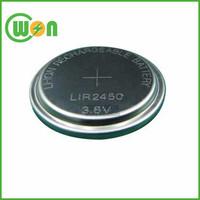 rechargeable 3.6v lir2450 3.6v lithium ion button cell battery bulk package with best price