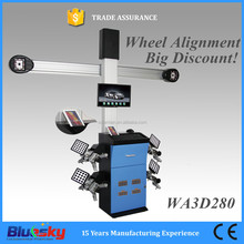 Automatic auto tracking 3D wheel alignment with global vehicle database