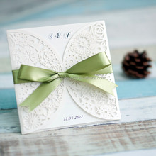 Best Selling Unique Floral Laser Cut Wedding Invitations Philippines with Bow