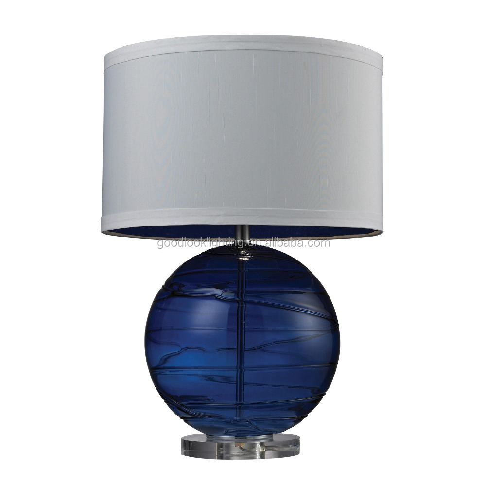 (C)UL&ETL listed Modern blown Sapphire sphere glass body and acrylic base &white faux silk shade table table lamp/desk lamp