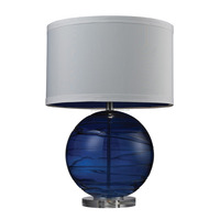 (C)UL&ETL listed blown Sapphire sphere glass body and acrylic base &white faux silk fabric shade table lamp