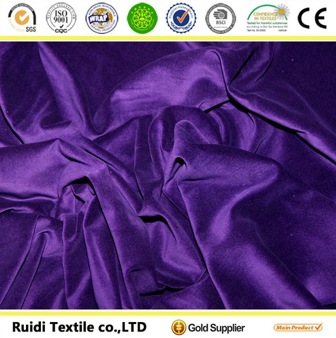100% Polyester solid velvet fabric in China/Crepe african velvet fabric