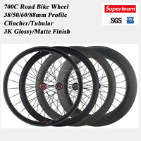 700C Clincher/Tubular 38 50 60 88mm Profile Carbon Road Bike Rim Wheels with 20/24 Holes