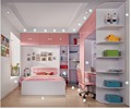 2017Pink girl children bedroom set kids bedroom set is use Environmental material E1 MDF board to finished