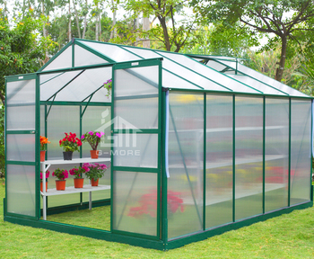 G-MORE Affordable Low Cost Easy Installation 8'x10' Polycarbonate Greenhouse for Veggies Fruits Planthouse Drivhus