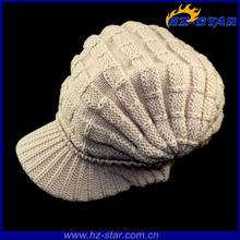 HZM-12110 Hot cool creamy-white custom wholesale knitted bobble cheap basketball hats