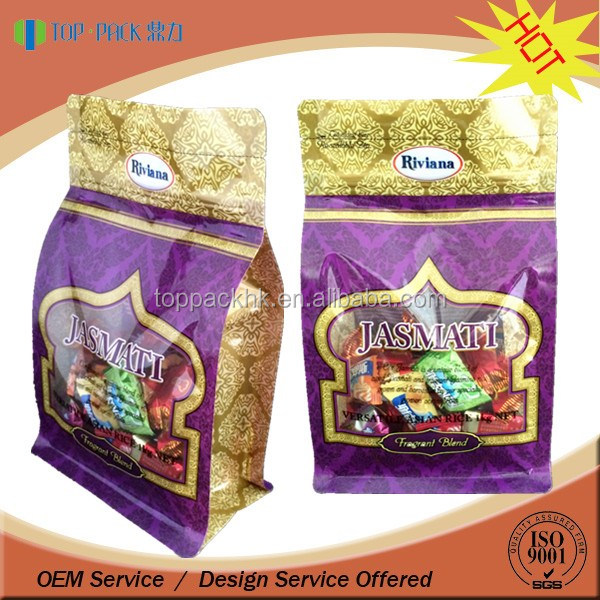 Food grade custom full printing stand up flat bottom rice bag with zipper