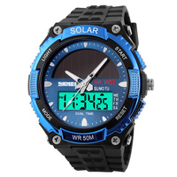 5ATM Waterproof Diving Solar Watches Skmei 1049 PU plastic Strap Digital Quartz Dual Movement Solar Sports Watches Military
