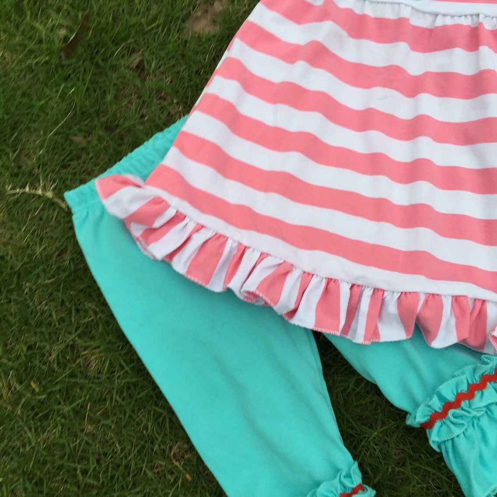 2015 new girls girl fashion clothing girls stripe boutique clothing summer clothes for girls with matching headband and necklac