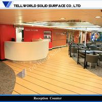 All pure white artificial stone round reception desk