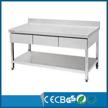 heavy duty work stainless steel work table with 3 drawers