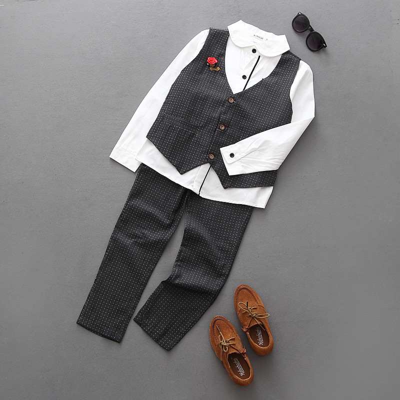 New Fashion Boys Clothes Fall Boutique Outfits 3PCS Pants Gentleman Shirts With Brooch Waistcoat Outfits