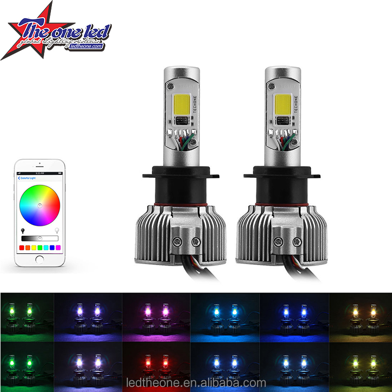 2 in1 RGB LED Headlight Bulb Kit - Smartphone App-Controled Bluetooth RGB Demon Eye + LED Headlight Color Changing Strobe & Musi