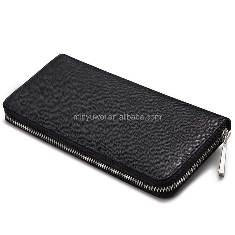 Men's Genuine Leather Long Purse Mens Zipper Wallet for business