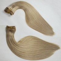 Clip in human hair extensions brown blonde mix 7a grade virgin hair