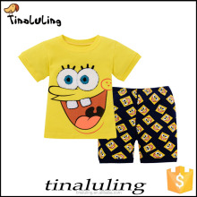 Cotton Summer colorful sponge Bob Applicate Patch pattern Baby clothing sets Children Pajamas wholesale children clothes