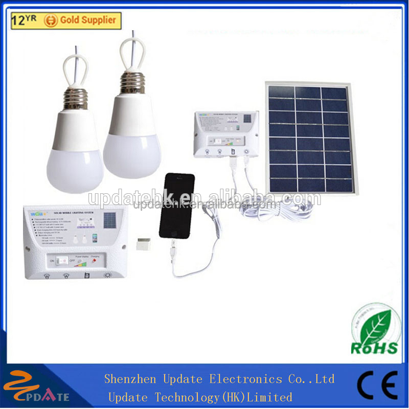 Solar Panel Lighting Kit, Solar Home DC System Kit, USB Solar Charger with 2 LED Light Bulb as Emergency Lisolar system for home
