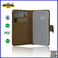 Leather Wallet Case Cover with Magnetic Closure and Sticky Pad holding system for htc m8 mini Laudtec