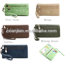 Lady Wallets Dull Polish Leather Wallet Double Zipper Day Clutch Purse Wristlet Portefeuille Carteir Phone Purse (BXJ1732)