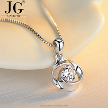 Korean 925 Rose Design Simple Diamond Cubic Zirconia Necklace Jewelries for Women, Lucky Clover Pendant Rhodium Plated Jewellery