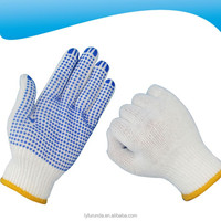 10 gauge bleached white cotton knitted working gloves with PVC dots on palm
