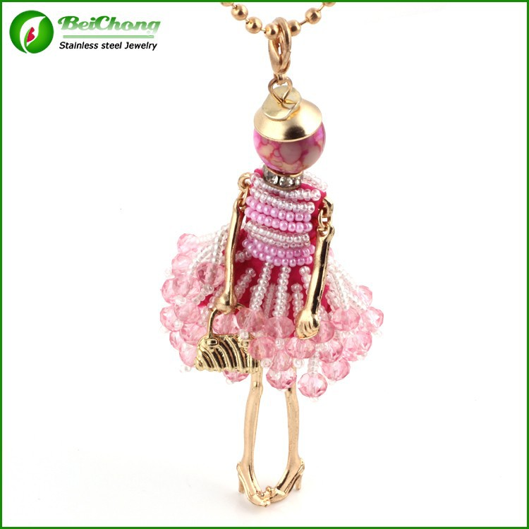 Pink bead doll pendant french doll necklaces accessories for women