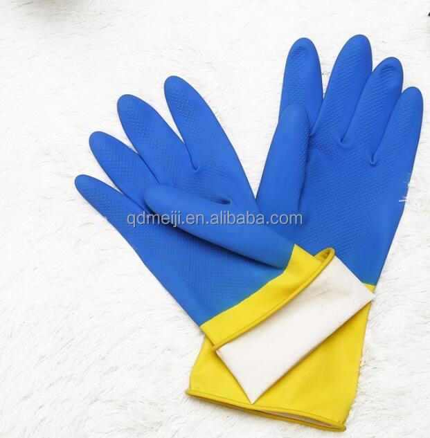 Widely used blue yellow long latex rubber gloves neoprene industrial latex glove wholesale